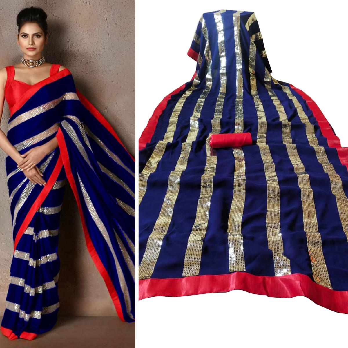 Exclusive Blue Colored Party Wear sequence Work Georgette Saree