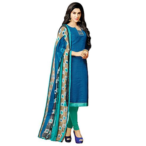 Blue - Green Mulberry Silk Salwar Suit