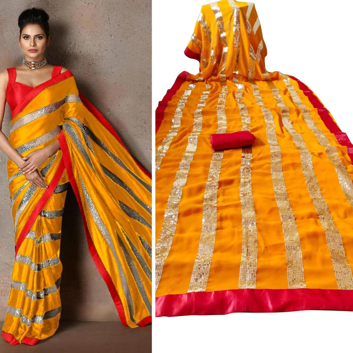 Pleasant Yellow Colored Party Wear sequence Work Georgette Saree