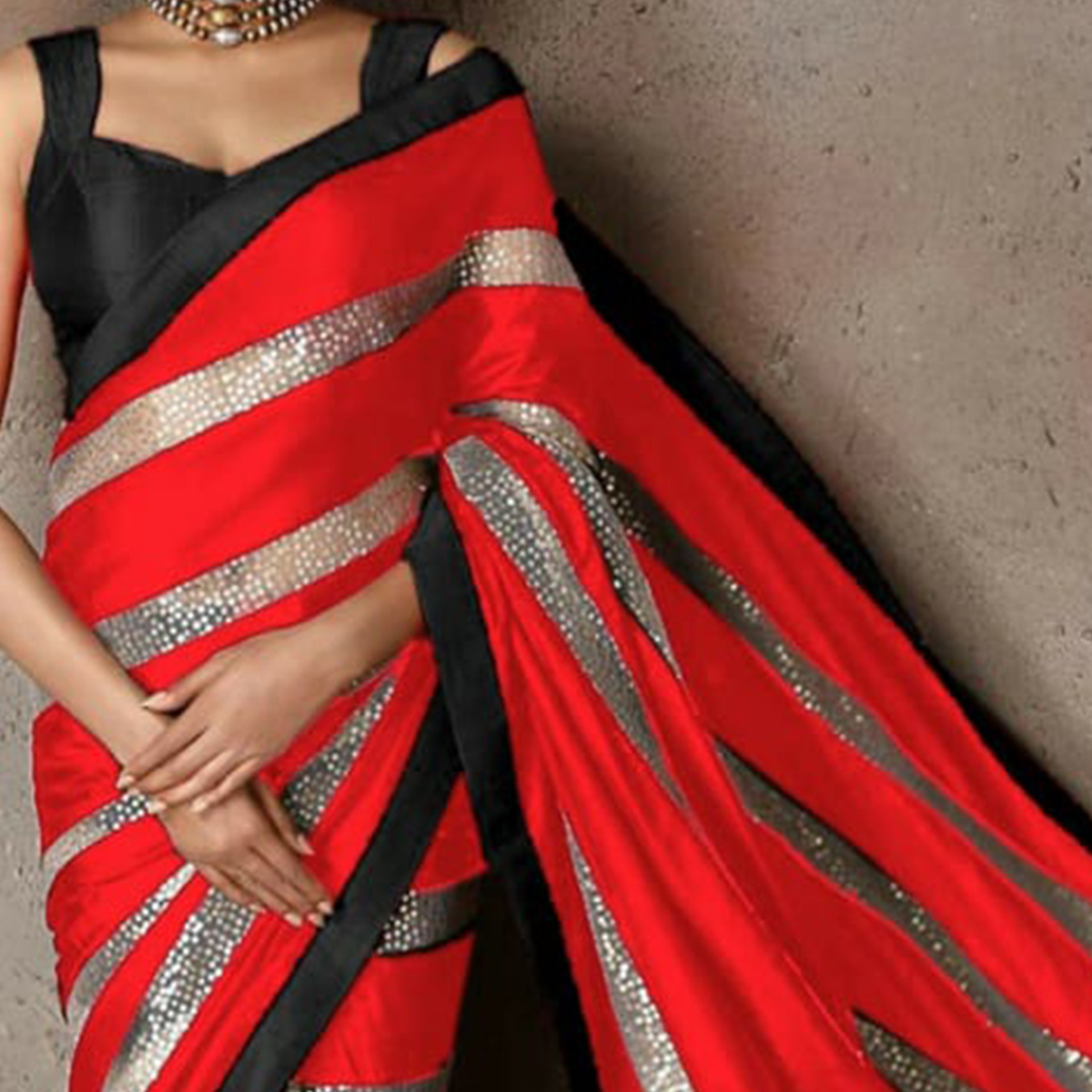 Radiant Red Colored Party Wear sequence Work Georgette Saree
