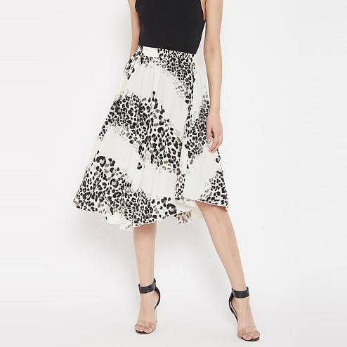 Lucero - White Colored Casual Wear Printed Polyester Skirt