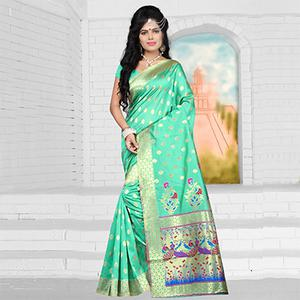 Marvellous Green Semi Paithani Silk Saree