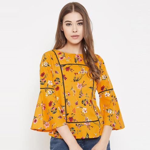 Lucero - Mustard Yellow Colored Casual Wear Floral Printed Crepe Top