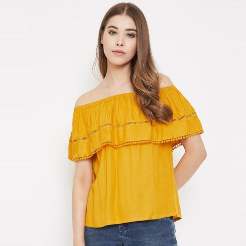 Lucero - Mustard Yellow Colored Casual Wear Off Shoulder Rayon Top