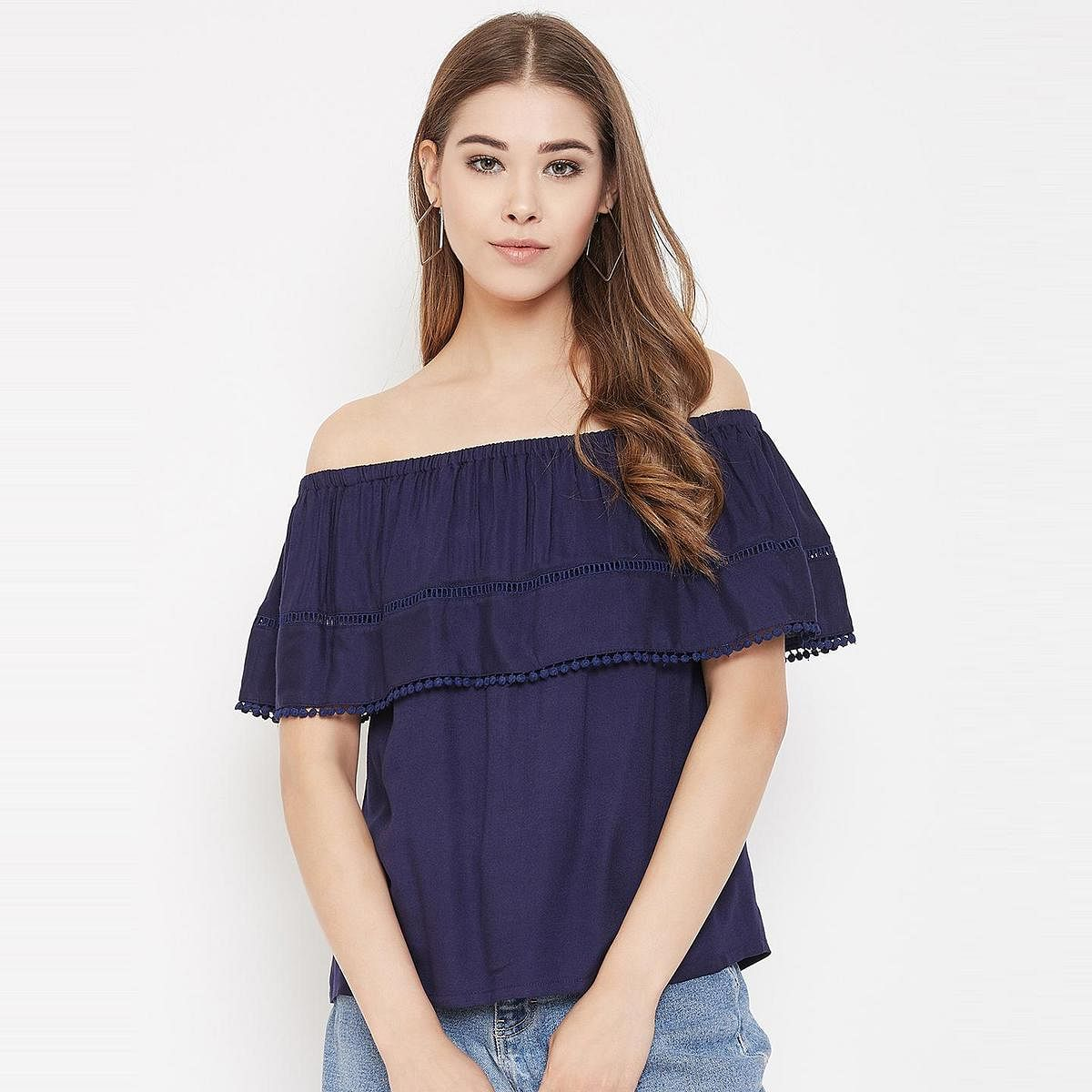Lucero - Navy Blue Colored Casual Wear Off Shoulder Rayon Top
