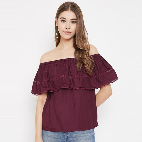 Lucero - Maroon Colored Casual Wear Off Shoulder Rayon Top