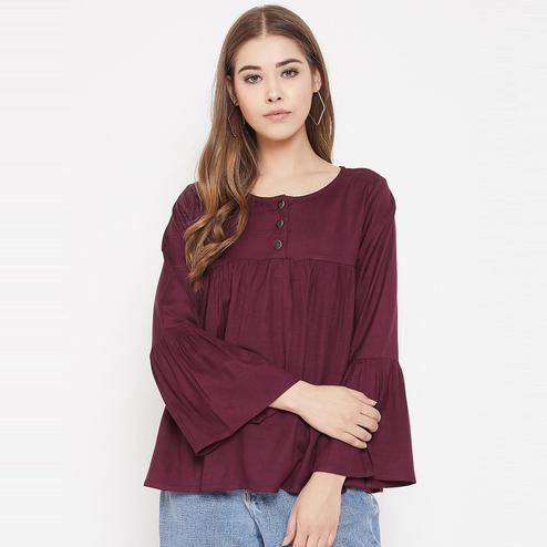 Lucero - Maroon Colored Casual Wear Rayon Gathered Top