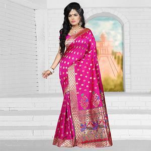 Hot Rani Pink Semi Paithani Silk Saree