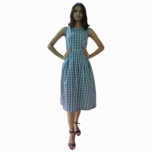 Raano - Navy Blue-White Colored Casual Wear Checked Printed Cotton Dress