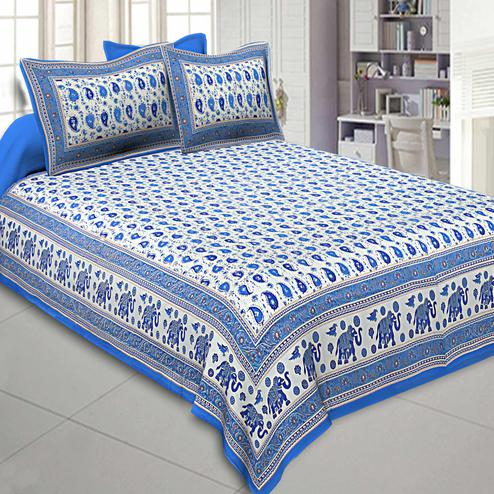 Adorable Blue Colored Paisley Gold Printed Cotton Double Bedsheet With Pillow Cover