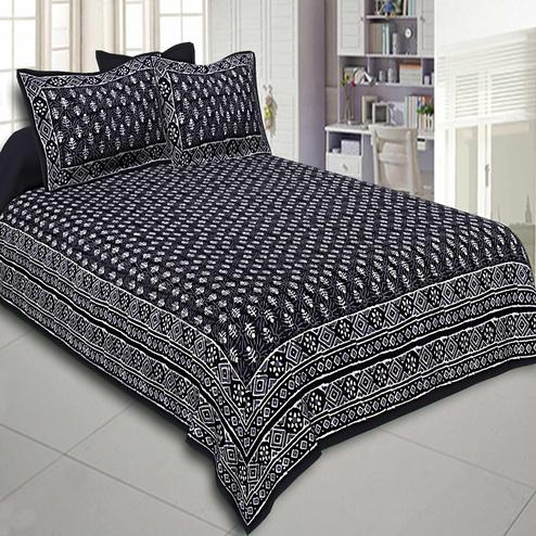 Fantastic Black Colored Dabu Print Cotton Double Bedsheet With Pillow Cover