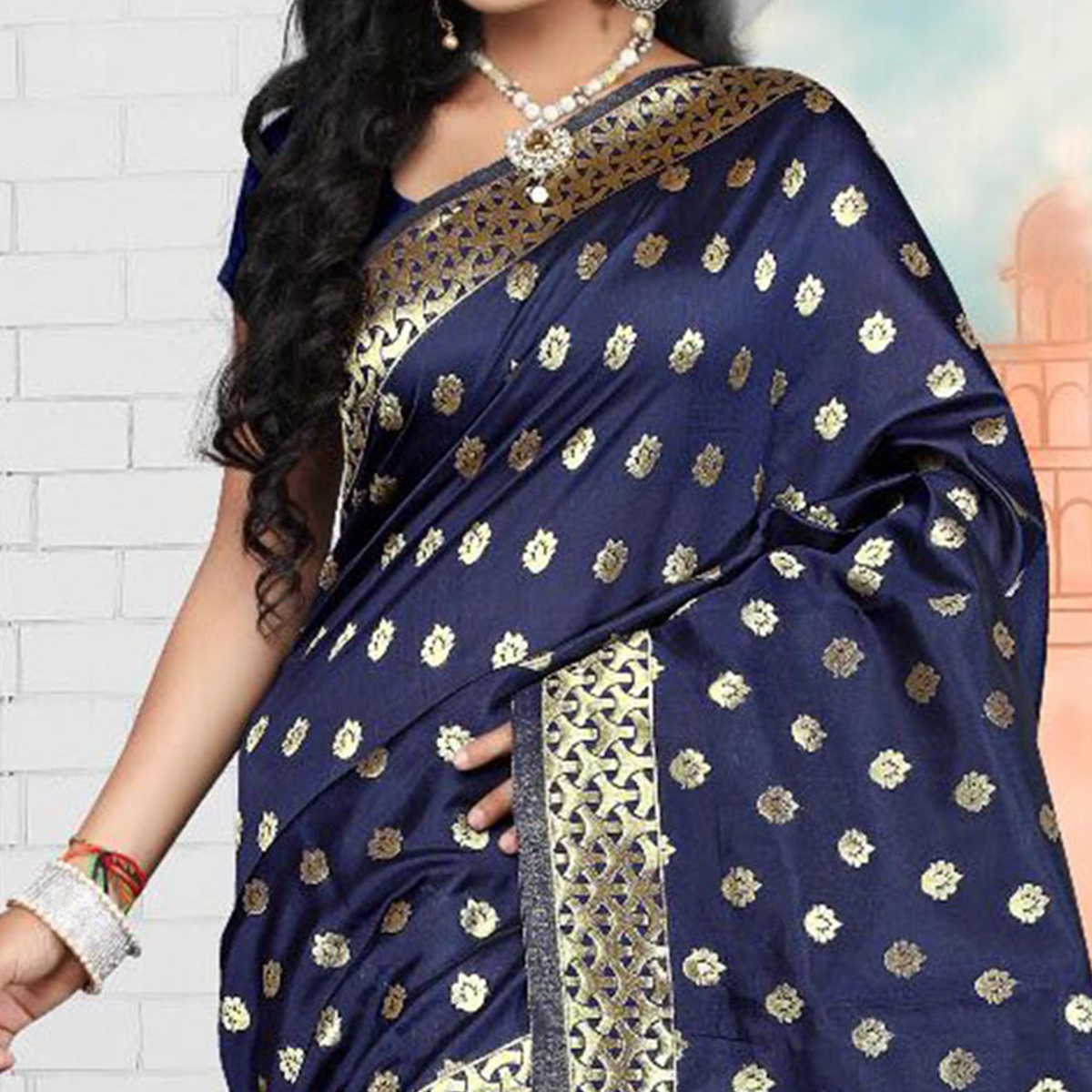 Classic Navy Semi Paithani Silk Saree