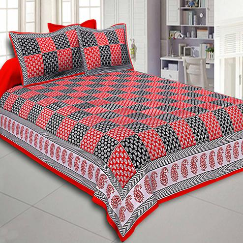 Ideal Red-Black Colored Checkerd Design Printed Cotton Double Bedsheet With Pillow Cover