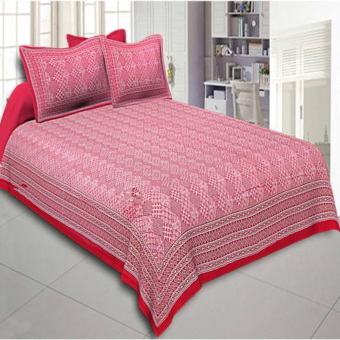 Ethnic Red Colored Big Bell Print Red Cotton Double Bedsheet With Pillow Cover