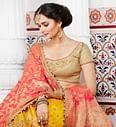 Ravishing Pink And Yellow Handwoven Silk Designer Lehenga Choli