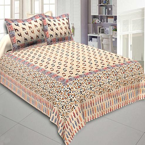 Opulent Cream Colored Sparkling Sand Printed Cotton Double Bedsheet With Pillow Cover