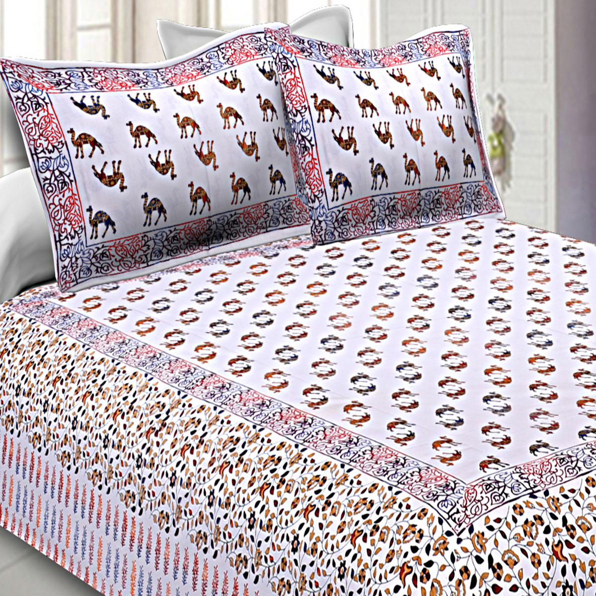 Energetic White-Red Colored Satrangi Camels On Shining Moonlight Cotton Double Bedsheet With Pillow Cover