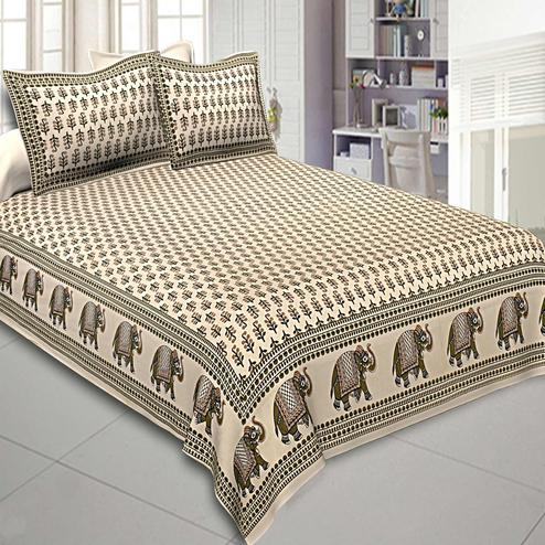 Exceptional Cream Colored Caramel Motif Printed Cotton Double Bedsheet With Pillow Cover