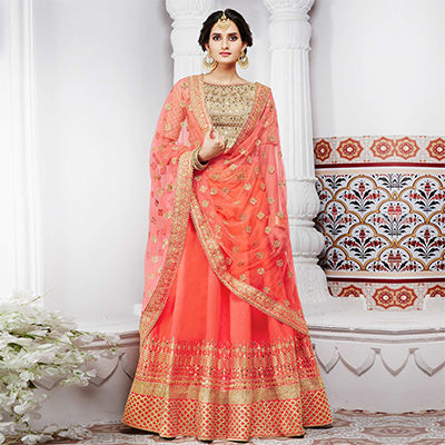 Regal Peach And Beige Handwoven Silk Designer Lehenga Choli