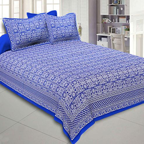 Flattering Royal Blue Colored Paisley Printed Cotton Double Bedsheet With Pillow Cover