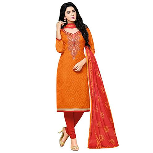 Orange - Red Embroidered Work Suit
