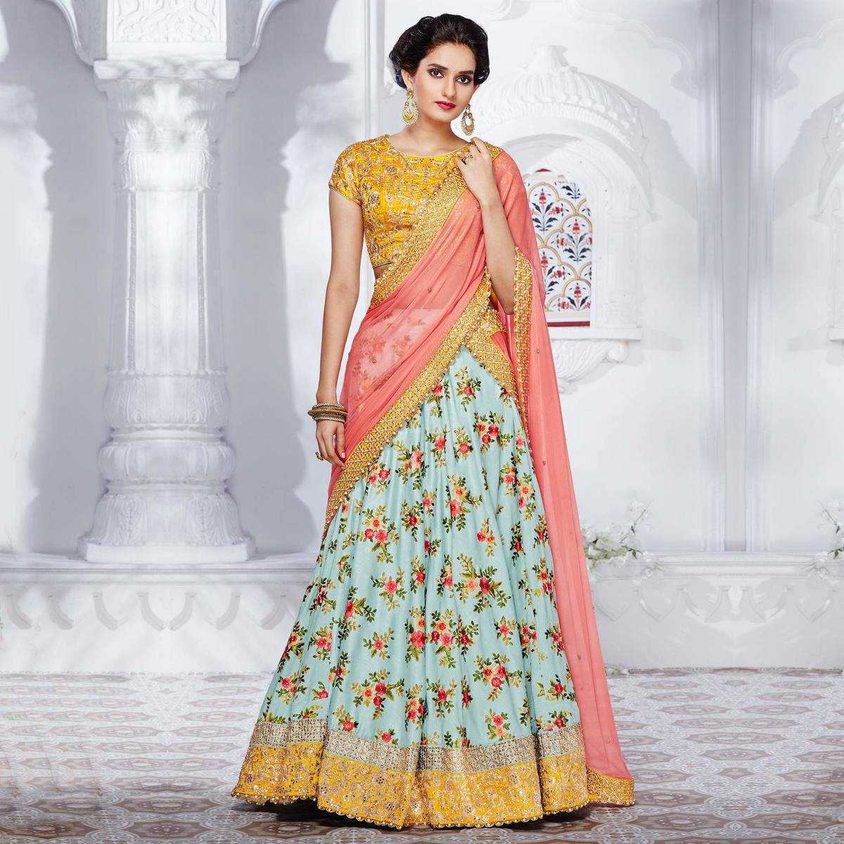 Stylish Blue And Yellow Designer Satin Silk Lehenga Choli