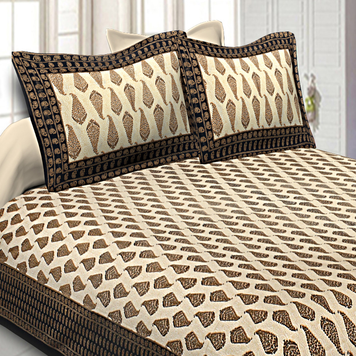 Flaunt Black Colored Leafy Delights Printed Cotton Double Bedsheet With Pillow Cover