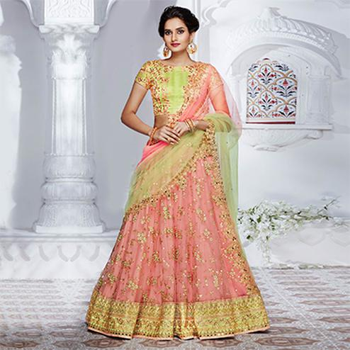 Elegant Peach And Green Designer Lehenga Choli