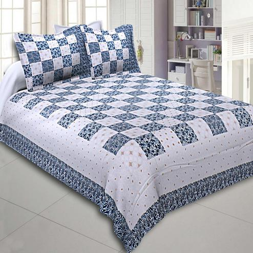 Charming Blue Colored Checkered Gold Printed Cotton Double Bedsheet With Pillow Cover