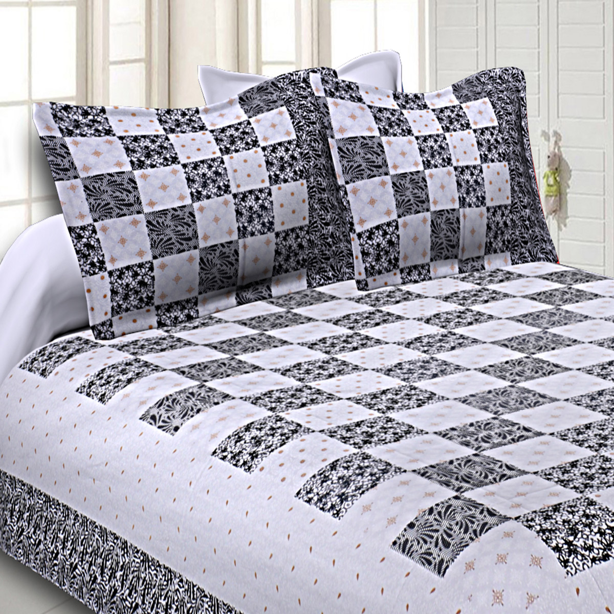 Delightful Black Colored Checkered Gold Printed Cotton Double Bedsheet With Pillow Cover