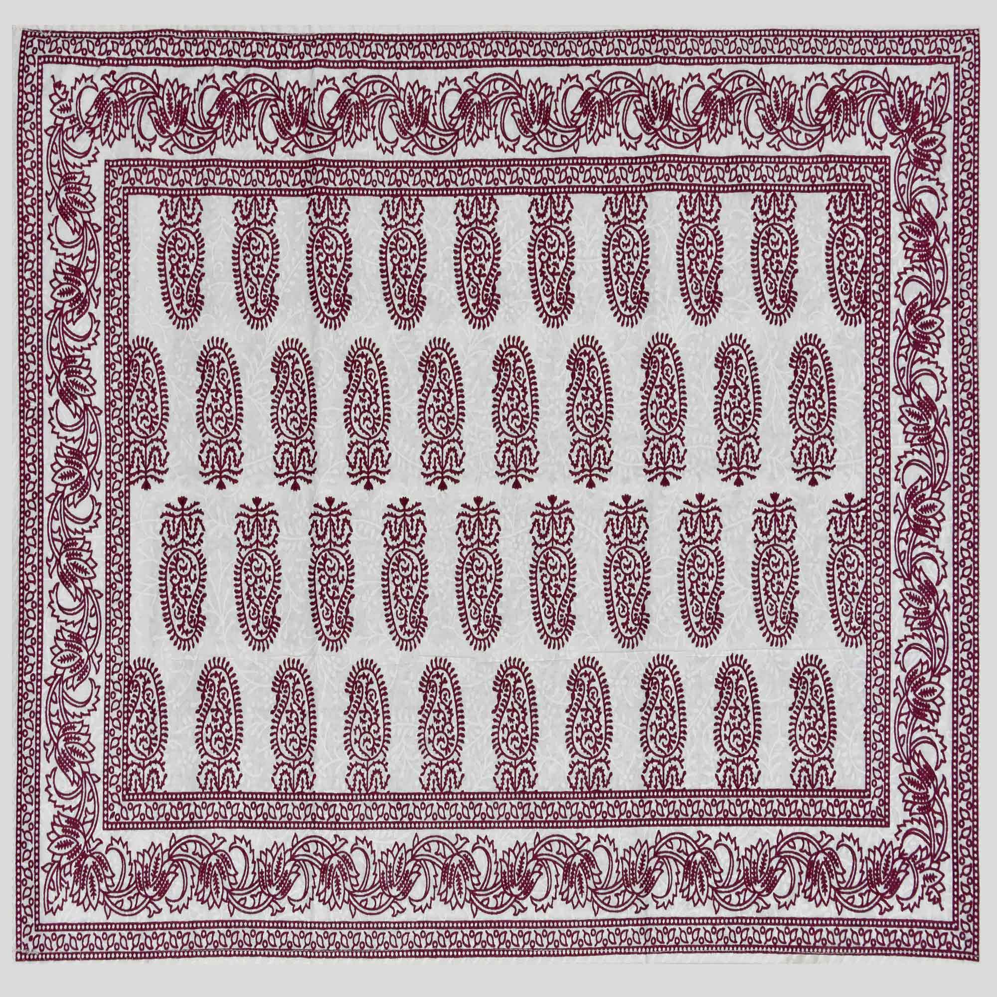 Amazing Wine Colored Paisley Printed Cotton Double Bedsheet With Pillow Cover
