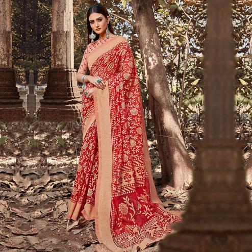 Elegant Red Colored Casual Wear Floral Printed Brasso Saree
