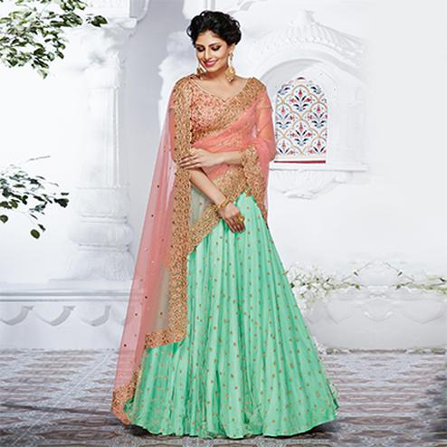 Mesmerizing Green And Peach Designer Lehenga Choli