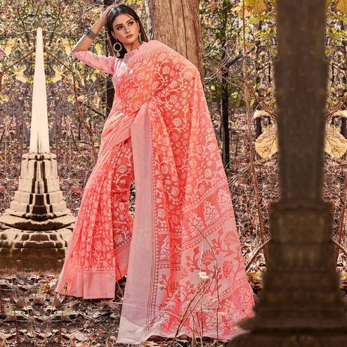 Pleasant Pink Colored Casual Wear Floral Printed Brasso Saree