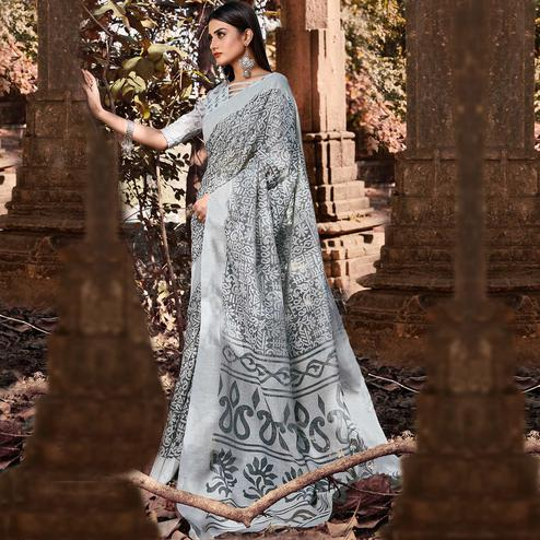 Opulent Grey Colored Casual Wear Floral Printed Brasso Saree