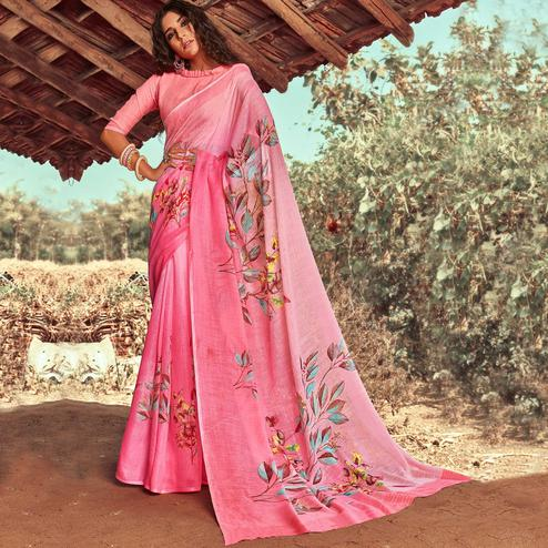 Classy Pink Colored Casual Wear Floral Printed Linen Saree