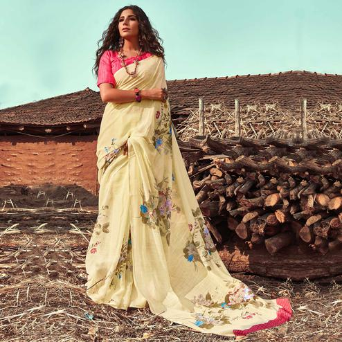 Prominent Light Yellow Colored Casual Wear Floral Printed Linen Saree