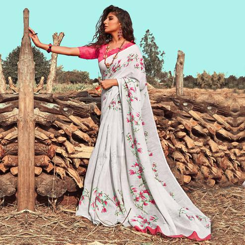 Appealing White Colored Casual Wear Floral Printed Linen Saree