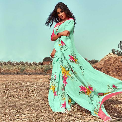 Capricious Green Colored Casual Wear Floral Printed Linen Saree