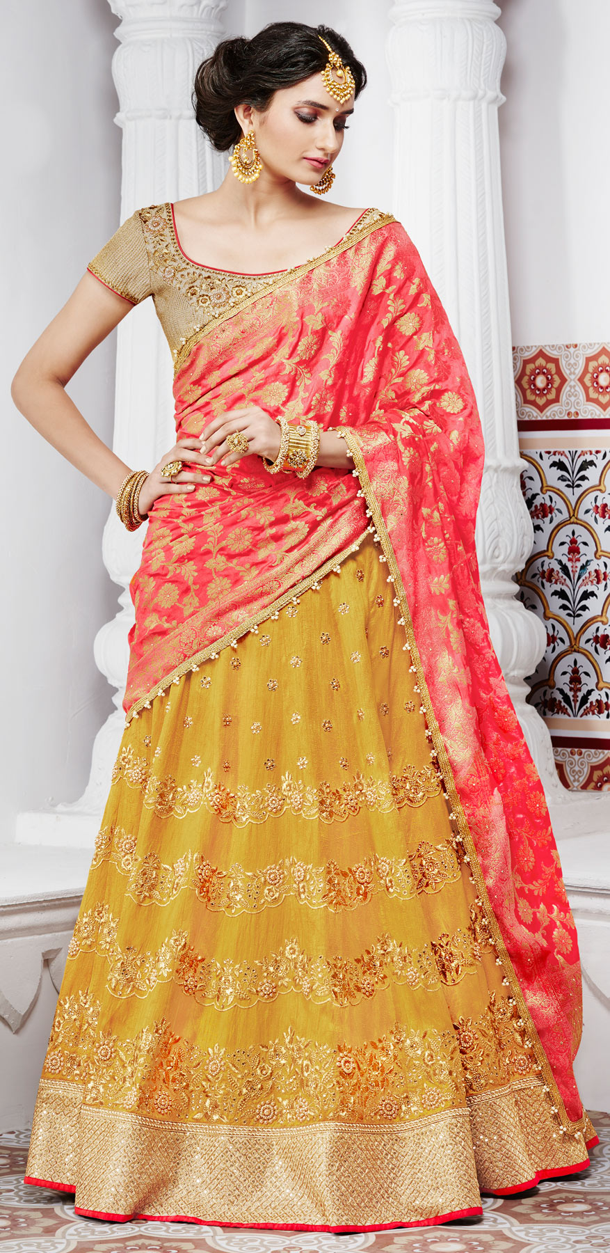 Arresting Yellow And Peach Handwoven Silk Designer Lehenga Choli