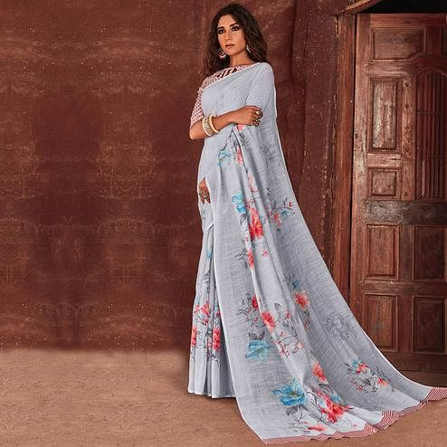 Groovy Grey Colored Casual Wear Floral Printed Linen Saree