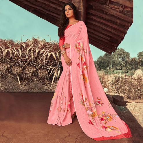 Adorning Pink Colored Casual Wear Floral Printed Linen Saree