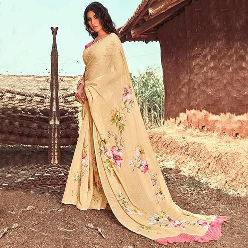 Exclusive Golden Colored Casual Wear Floral Printed Linen Saree