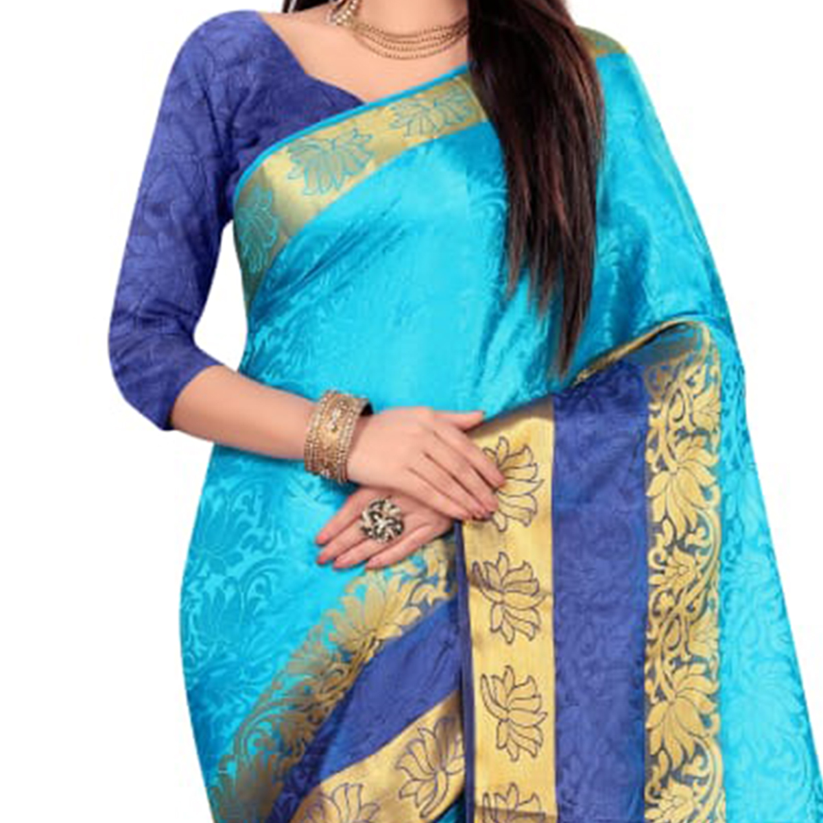Elegant Blue Colored Festive Wear Woven Nylon Saree