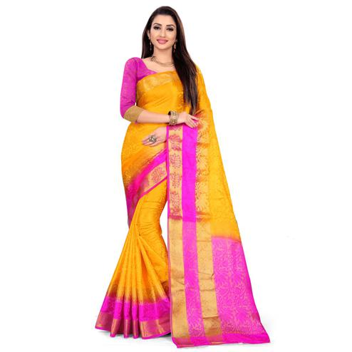 Radiant Yellow Colored Festive Wear Woven Nylon Saree