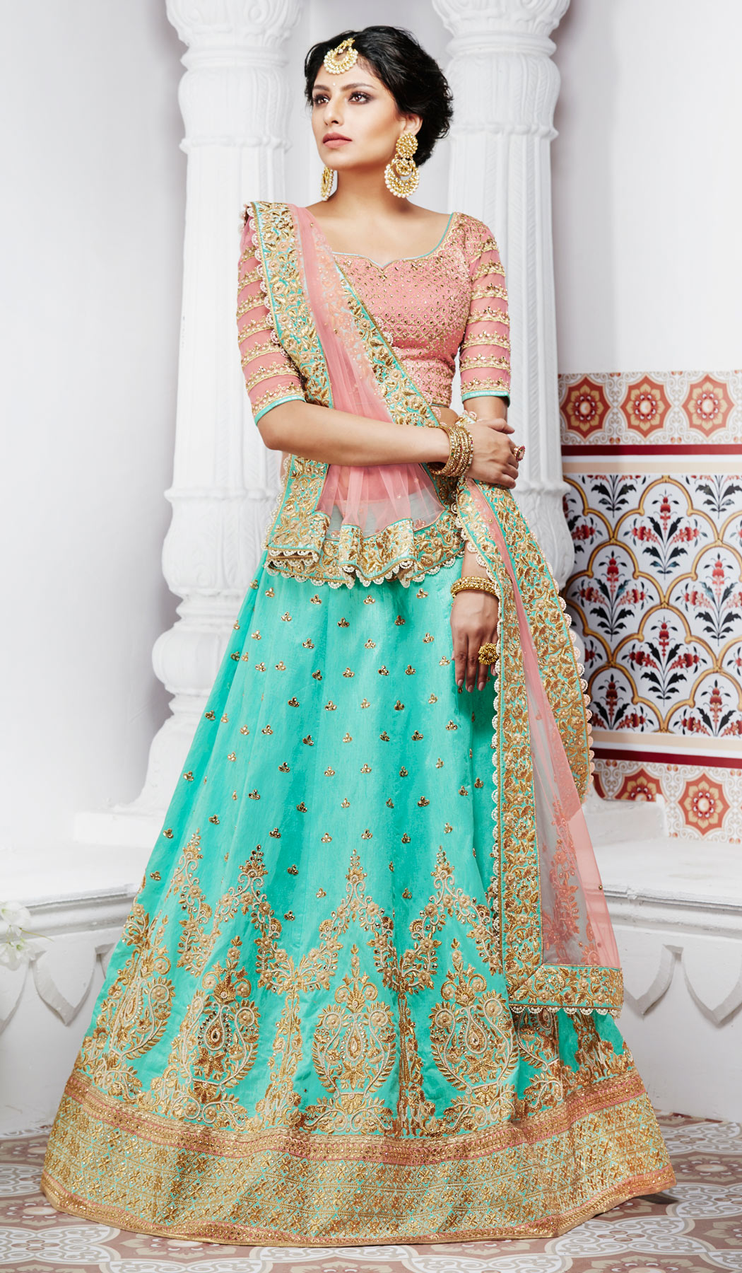 Sensational Turquoise Green And Peach Handwoven Silk Designer Lehenga Choli