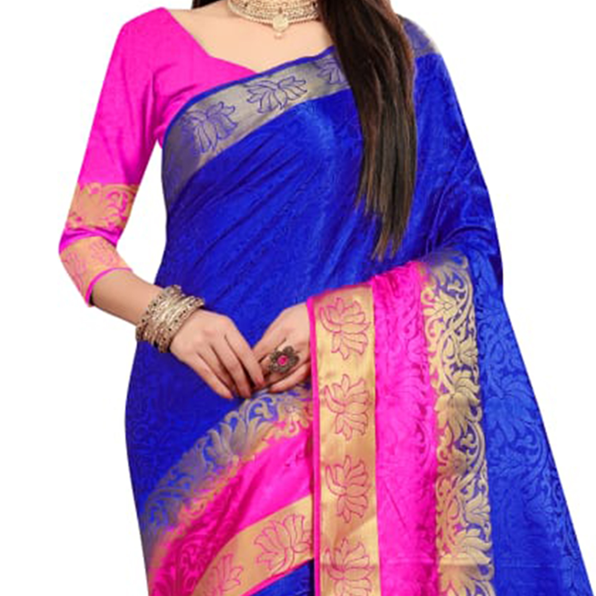 Glowing Blue-Pink Colored Festive Wear Woven Nylon Saree