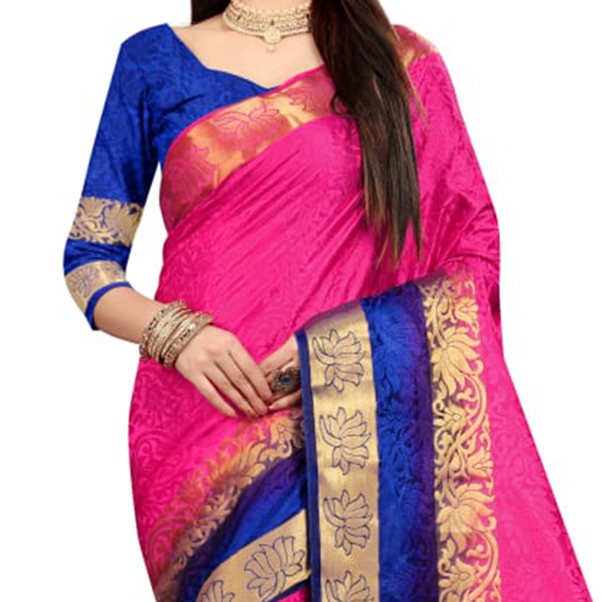 Exceptional Pink Colored Festive Wear Woven Nylon Saree
