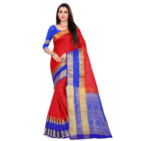 Gleaming Red Colored Festive Wear Woven Nylon Saree