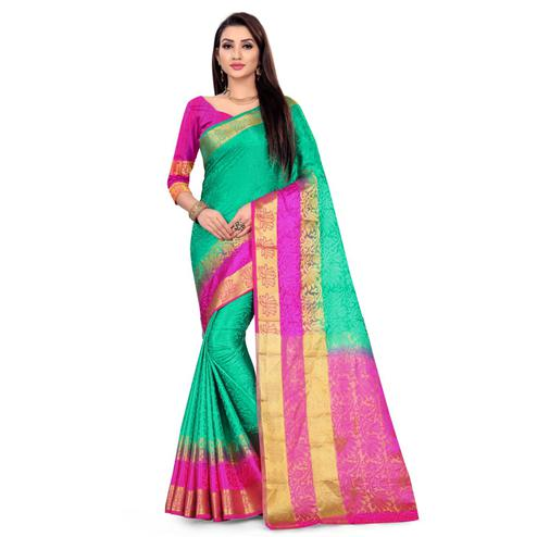 Mesmeric Green-Pink Colored Festive Wear Woven Nylon Saree